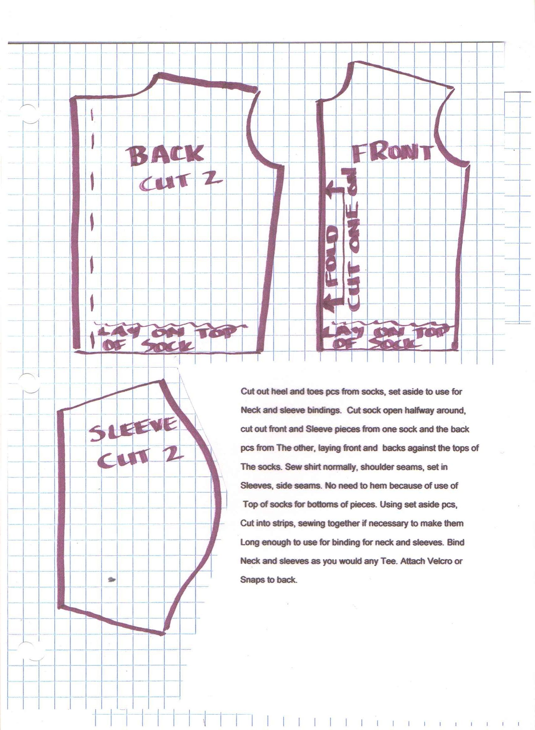 pattern for ken shirt made from a sock