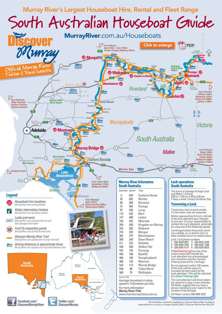 South Australian Houseboats map and departures Houseboats Murray