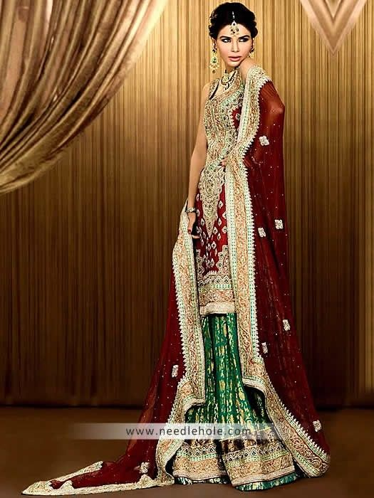 97c3a55fea Pakistani bridal sharara dress in maroon and sea green color ...