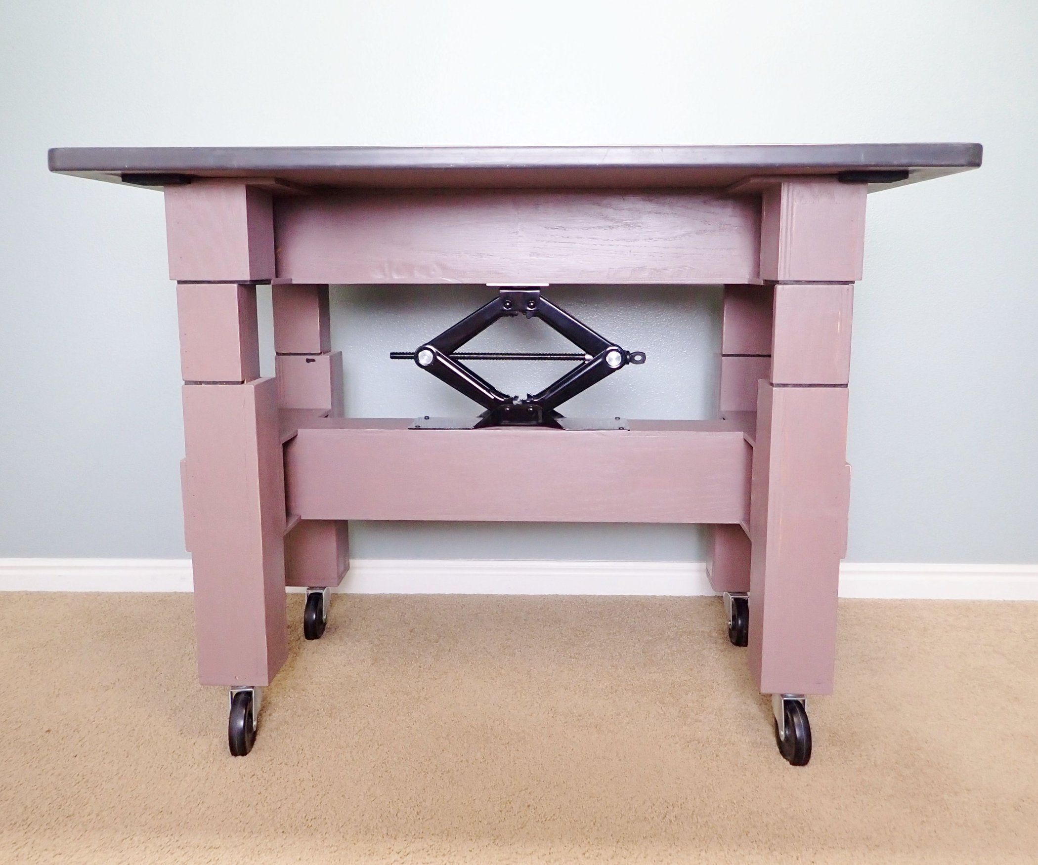 Make An Adjustable Height Table With A Car Jack Adjustable Height Table Adjustable Height Desk Adjustable Height Work Table