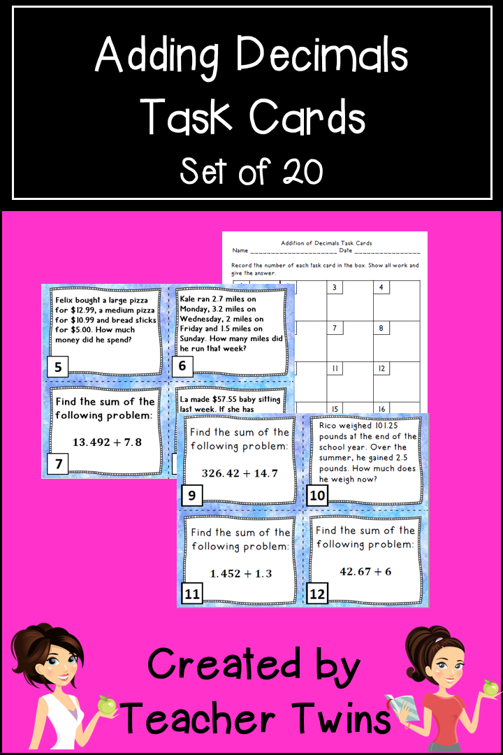 Adding Decimals Task Cards | Adding decimals, Task cards ...
