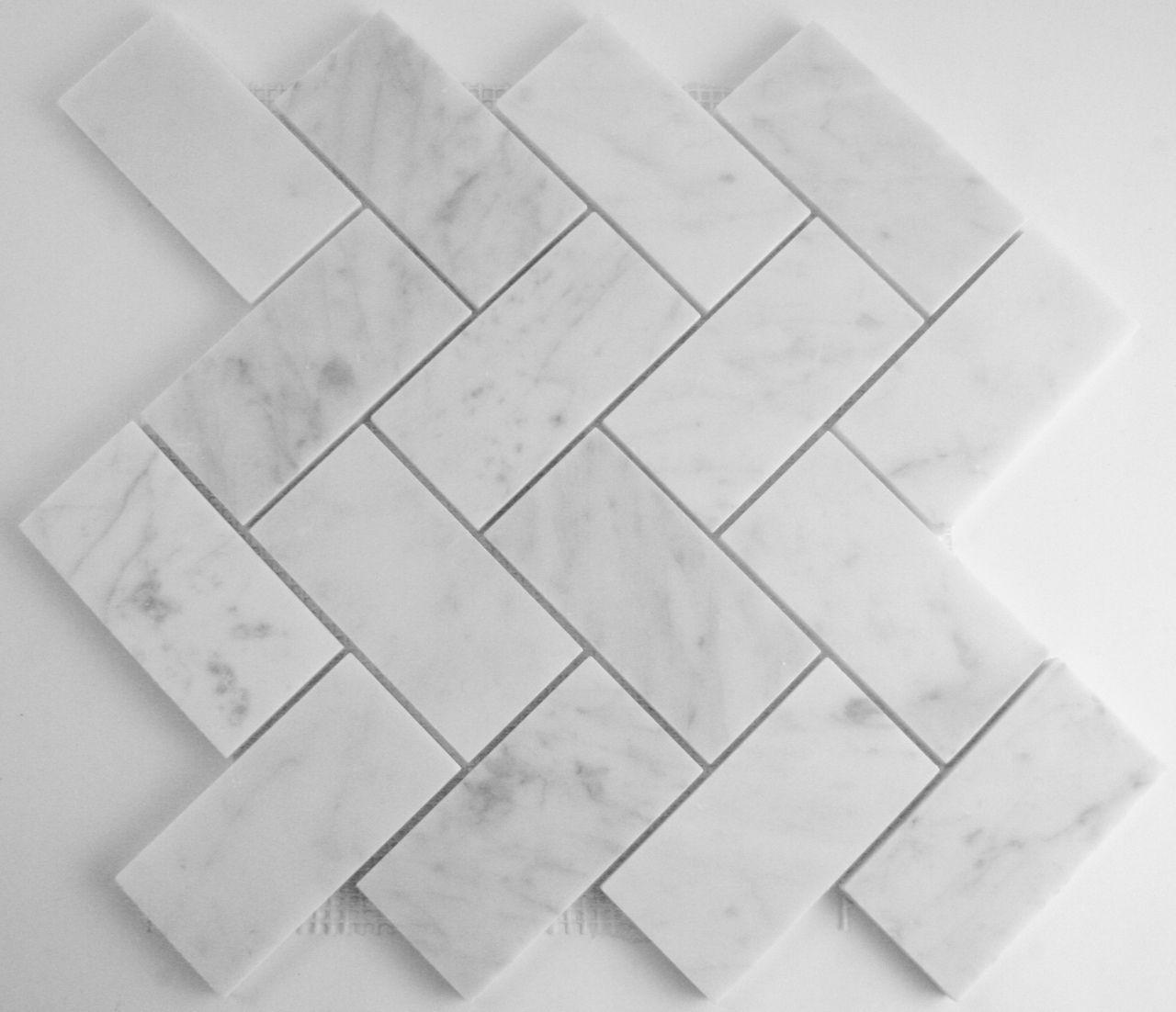 Carrara herringbone marble mosaic 100x50mm marble mosaic