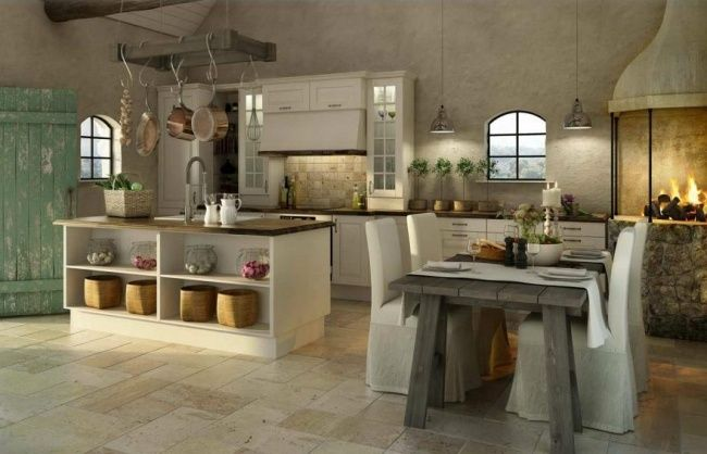 Rustikale küchenschränke ~ Wohnideen für die rustikale küche landhaus hängende pfannen mi
