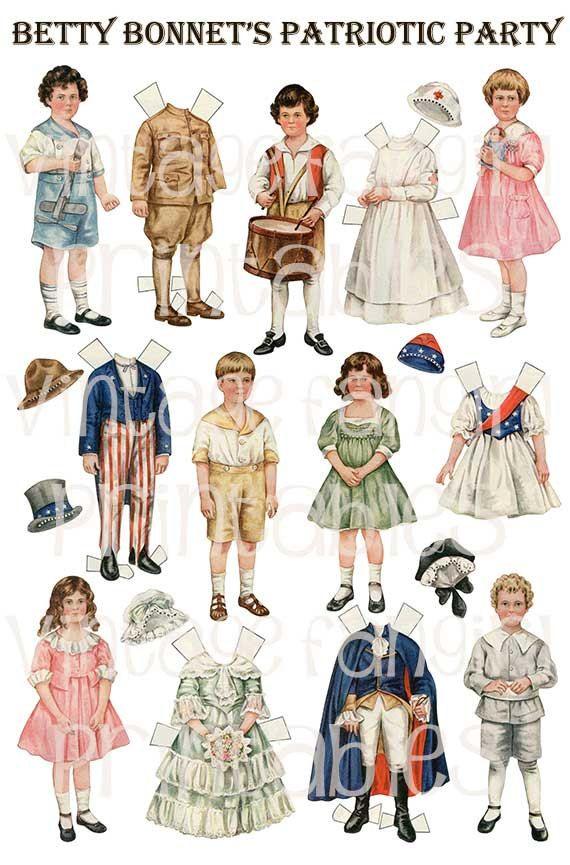 4th Of July Betty Bonnet Vintage Paper Dolls From 1917 Paper Dolls Paper Dolls Printable Vintage Paper Dolls