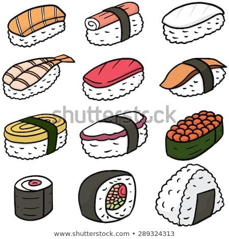 Vector Set Sushi Stock Vector (Royalty Free) 289324313