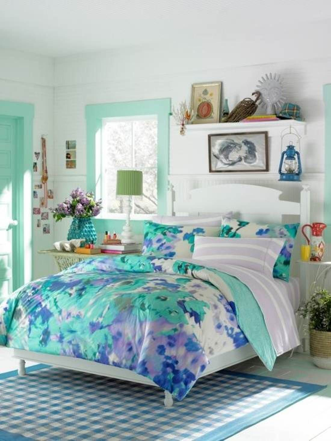 Blue room colors for teens - White Wall Ceiling Color Teen Bedroom Themes With Soft Blue Leaf Motive Bedding And White Wood Headboard On Soft Blue White Mosaic Style Rug Area Also Green