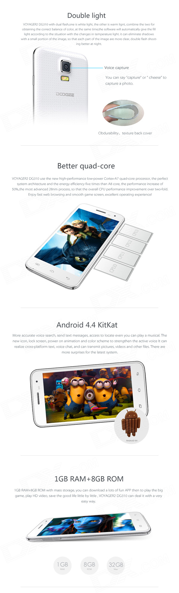 "DOOGEE VOYAGER2 DG310 Android 4.4 Mobile Phone w/ Quad-Core 5.0"" IPS, 8GB ROM, OTG, GPS, OTA - Free Shipping - DealExtreme"