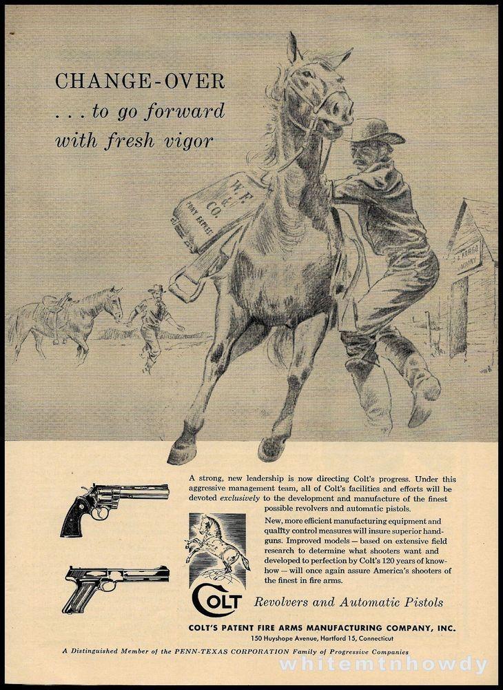1956 COLT PYTHON Revolver & Pistol AD Wells Fargo Pony Express Rider Old West #Armalite