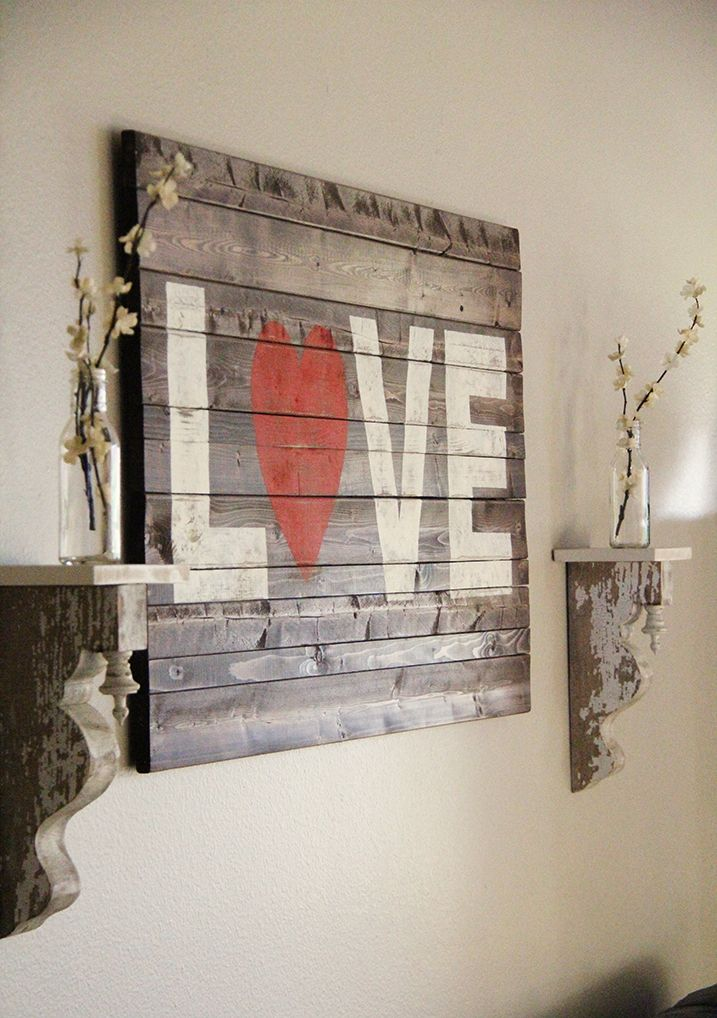 Diy rustic wall art you can make this rustic love sign in a few easy steps with rust oleum ultimate wood stain