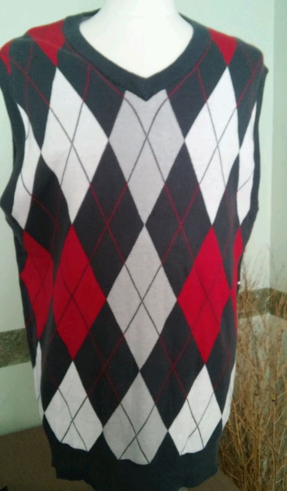 MENS Sweater VEST Size XXL Method Argyle Gray Red White Cotton ...