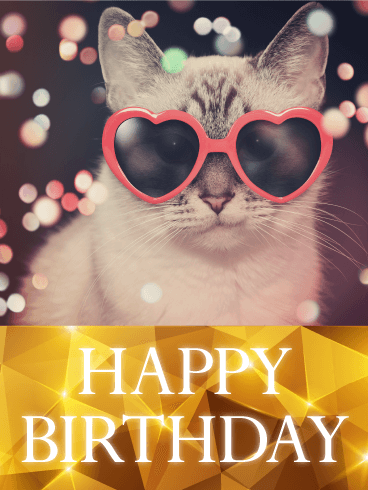 Send Free Hip Cat Happy Birthday Card To Loved Ones On Greeting Cards By Davia Its 100 And You Also Can Use Your Own Customized