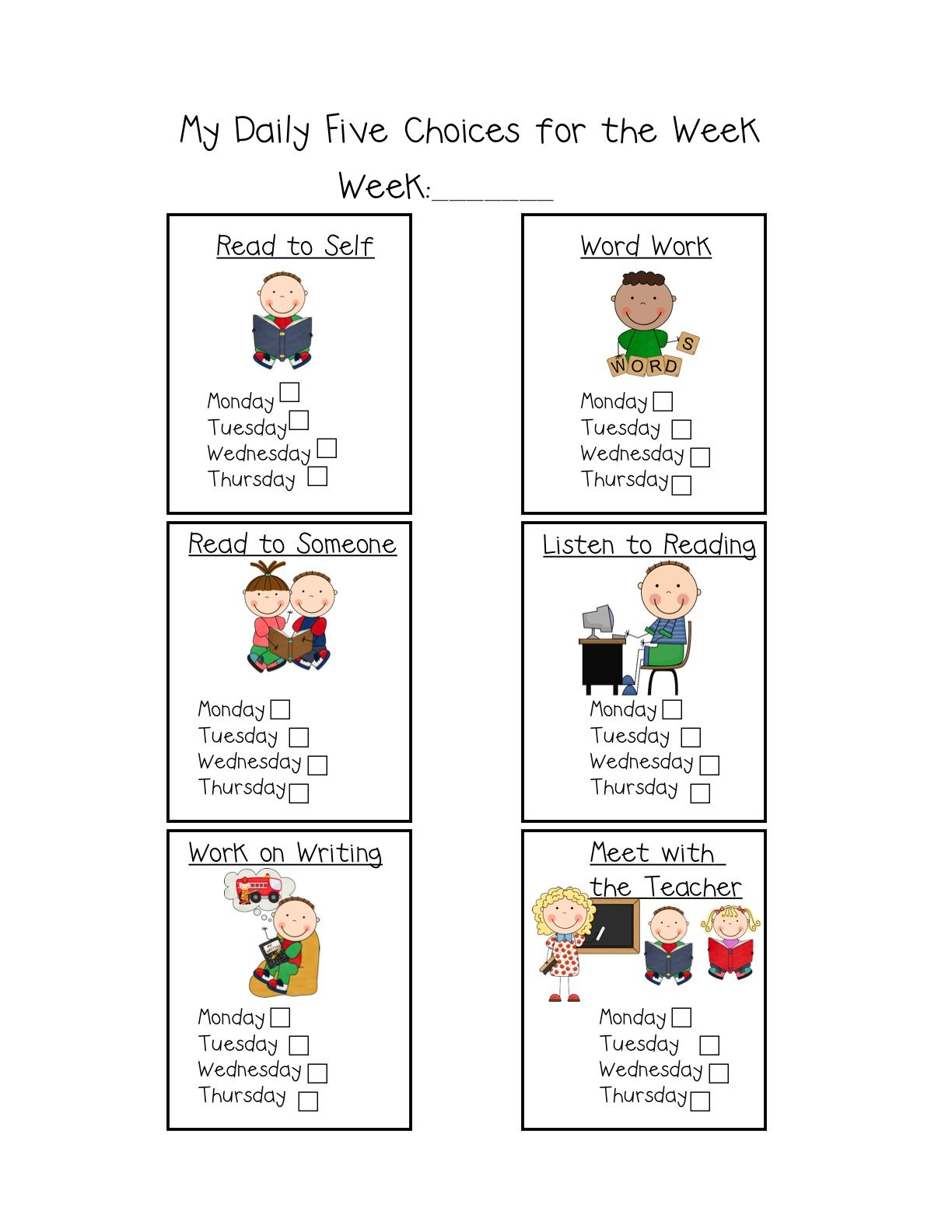 Daily Five Choice Schedule