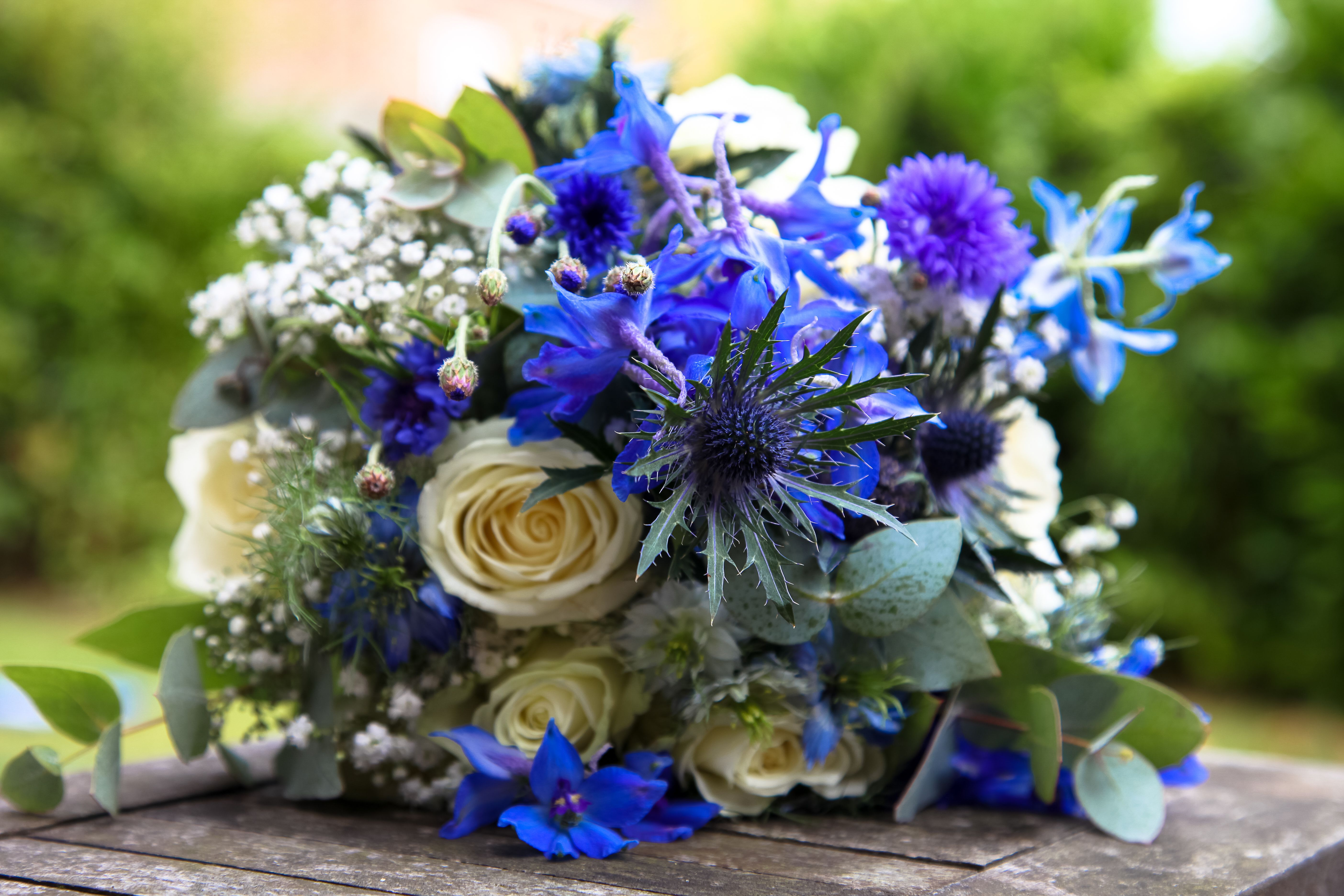 My Bouquet White Roses Blue Love In The Mist White Gypsophila