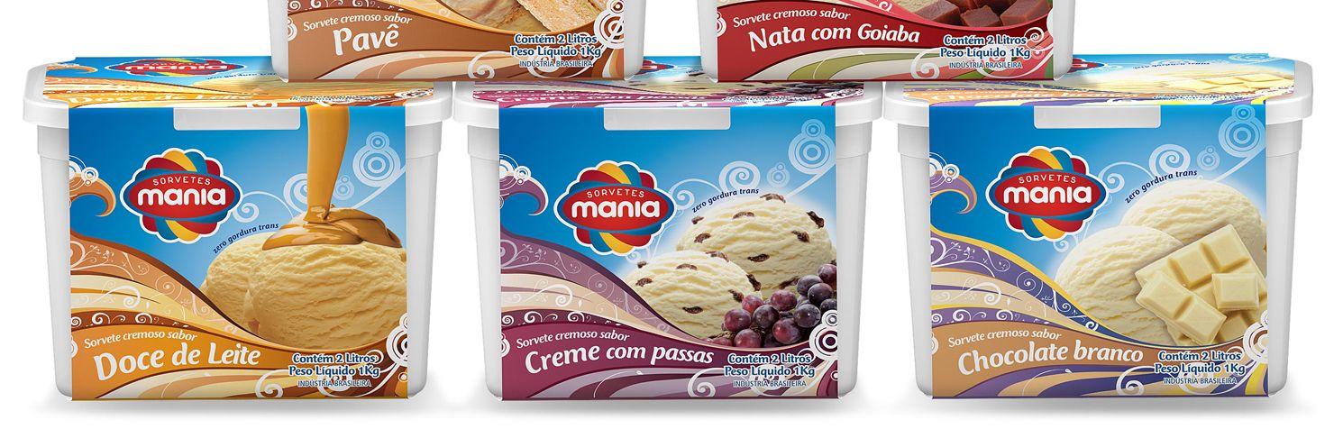 Linha de embalagens para sorvetes de massa de 2 litros para Sorvetes Mania, empresa de João Pessoa - PB.
