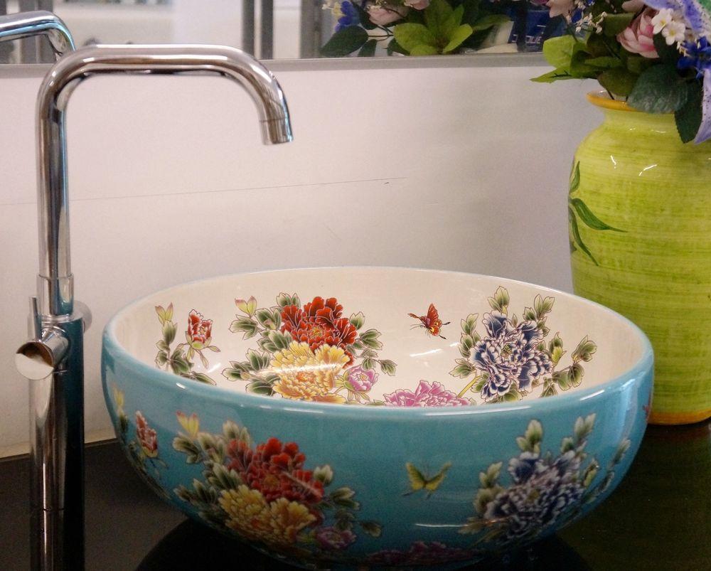 Round Bathroom Cloakroom Ceramic Counter Basin Sink Washing Bowl Floral Unique
