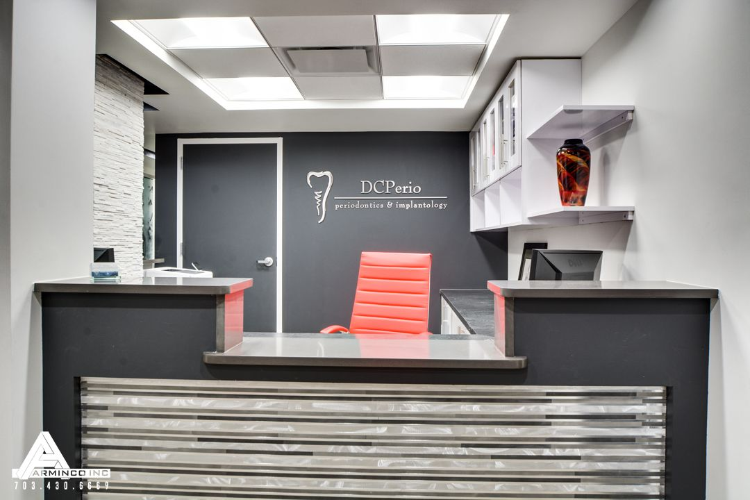 Black, White And Red Reception. Dental Office Design By Arminco Inc.