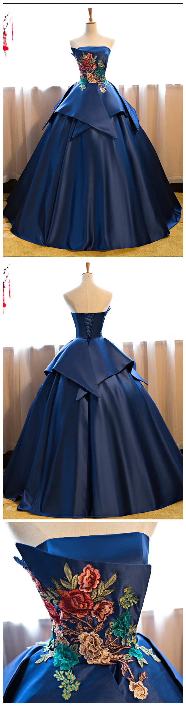 Royal blue floor length prom dress satin wedding gown featuring