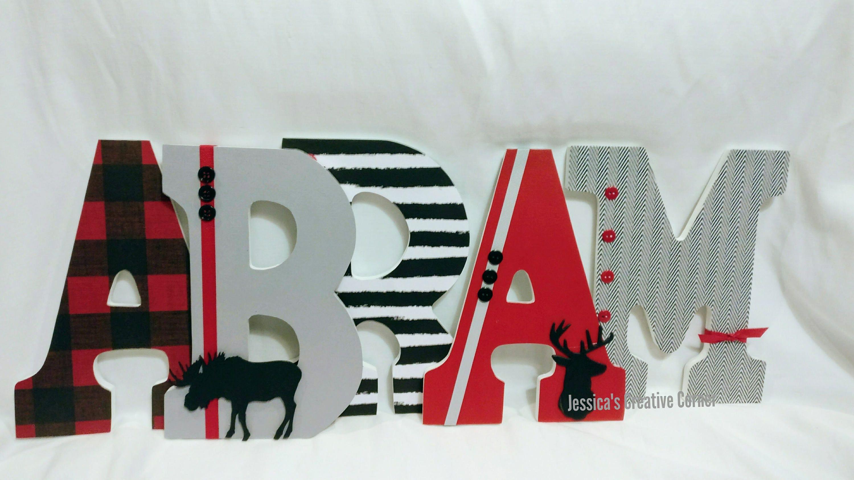 Moose Theme Nursery Letters Lumberjack