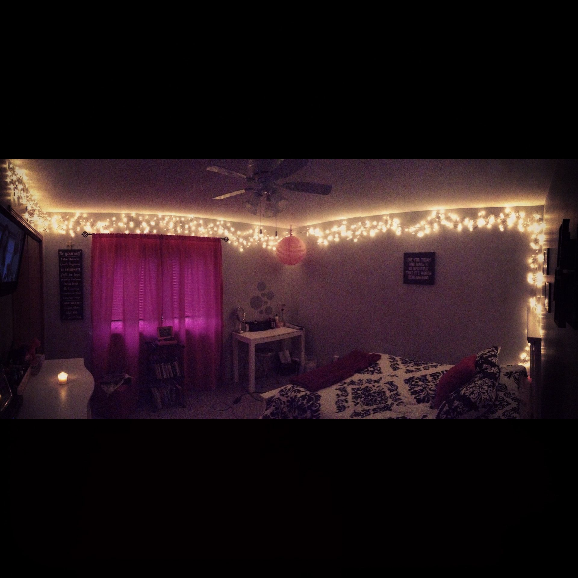 Bedroom with christmas lights soooo calming i just really like bedroom with christmas lights soooo calming solutioingenieria Gallery