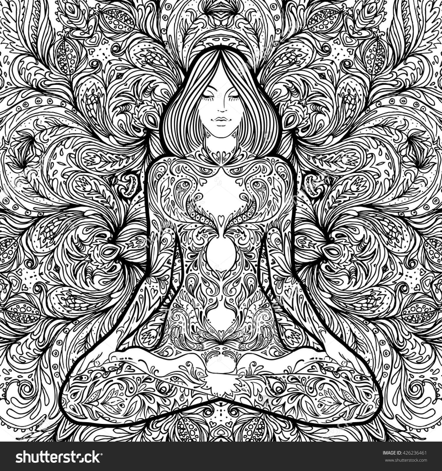 Lotus designs coloring book - Pretty Girl In Lotus Yoga Pose Over Ornate Round Mandala Pattern Decorative Design For Cover T Shirt Yoga Poster Flyer Yoga Coloring Book For Adults