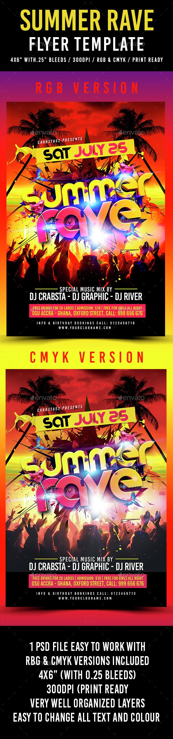 summer rave flyer template psd download here http graphicriver