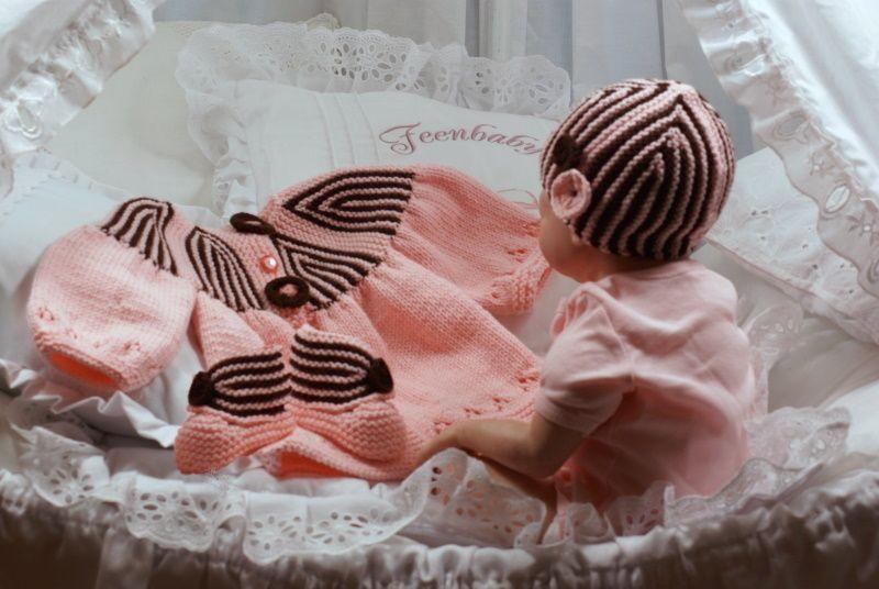 3 teilige Babygarnitur gestrickt von Feenbaby Baby Mode auf DaWanda.com