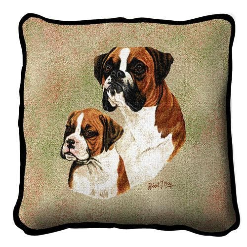 Boxer Dog and Puppy Portrait Pillow