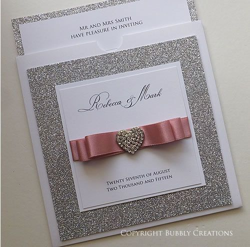 Wallet Wedding Invitation With Silver Glitter Diamante Heart Invite In Dusky Pink Sparkly And Glitzy Stationery