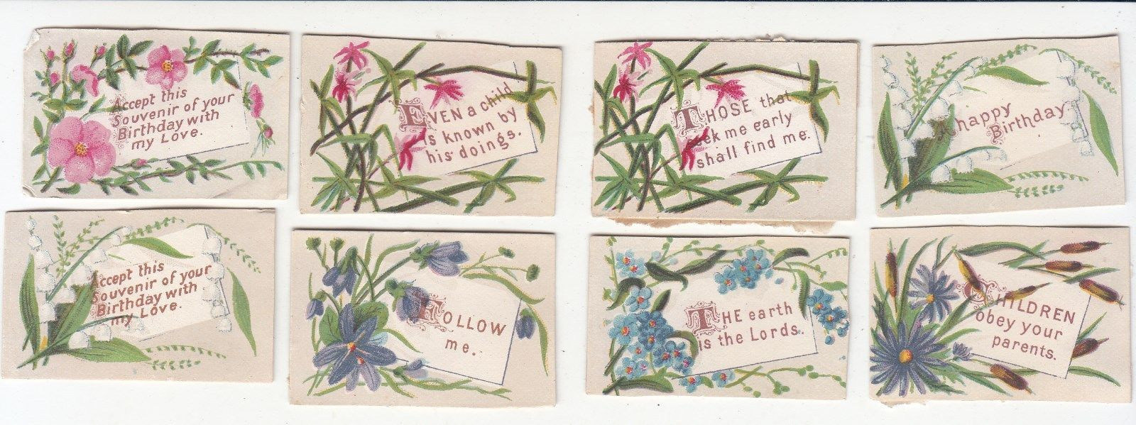 8 Mini Cards With Sayings Greetings Religious Victorian Cards C