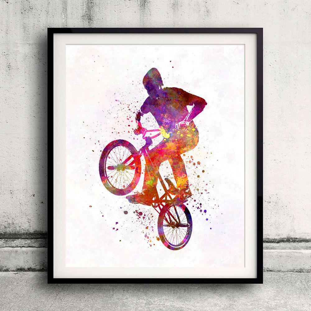 Man bmx acrobatic figure in watercolor - Fine Art Print Glicee Poster Home…