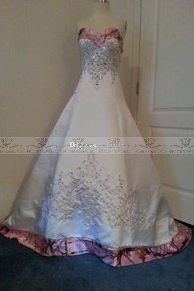 Custom made colored pink camo wedding dresses aline court