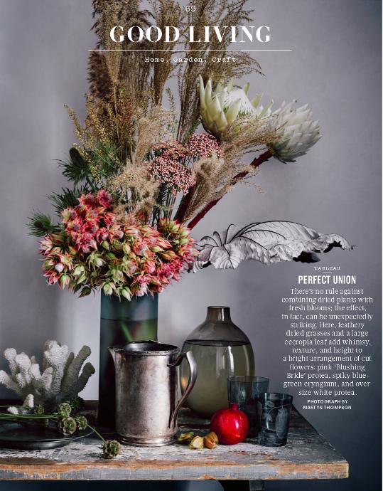 blushing bride protea, eryngium, white protea (Martha Stewart Living, Nov. 2015)