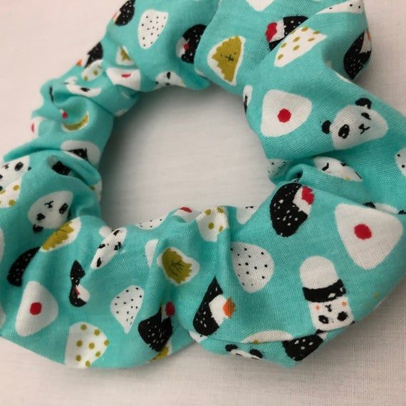 Teal Panda Sushi Hair Scrunchie #hairscrunchie