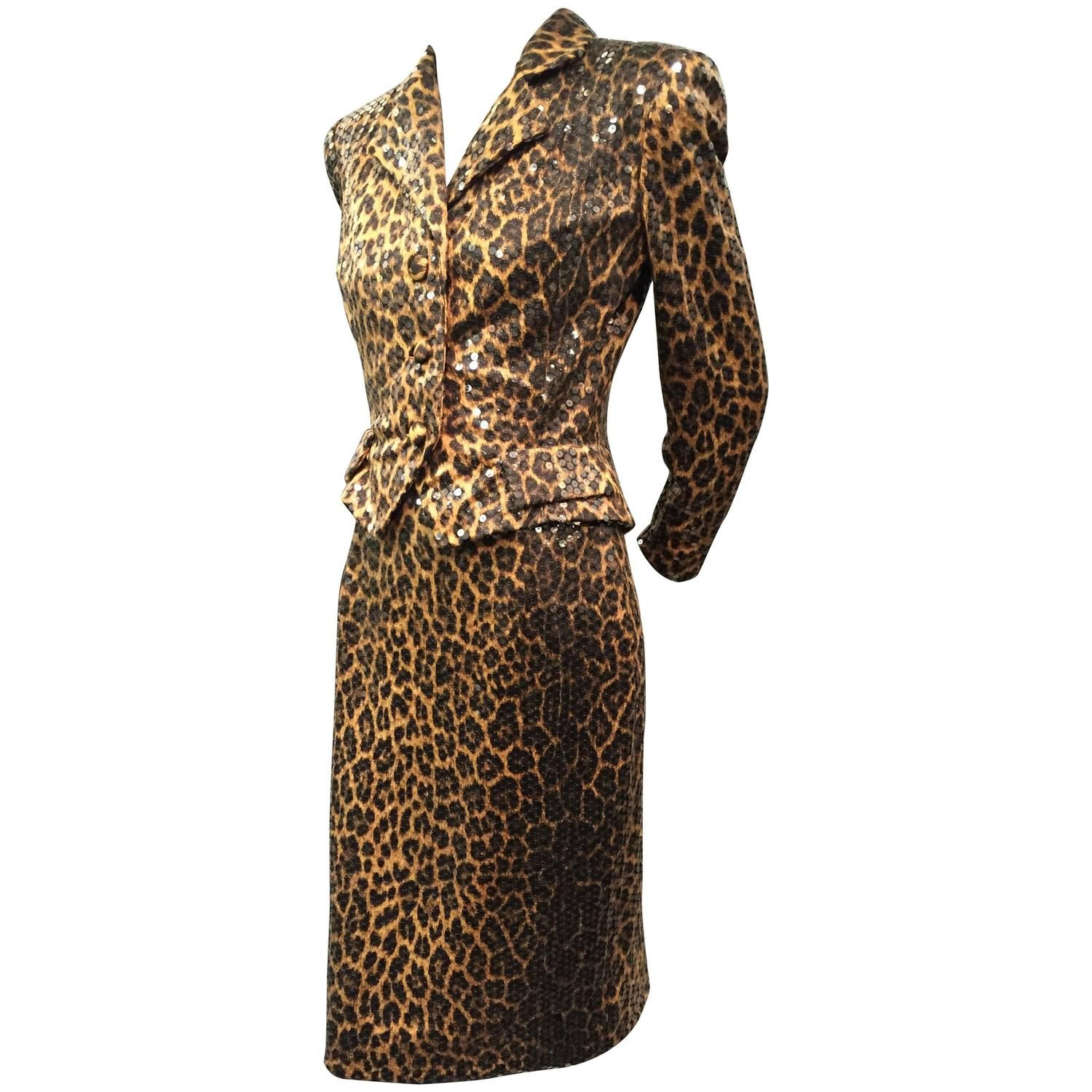 1980s Travilla Leopard Print Silk Skirt Suit Entirely Covered in Clear Sequins…