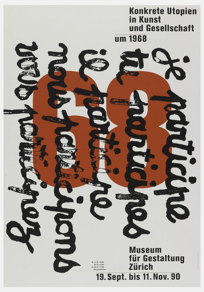 Poster Konkrete Utopien In Kunst Und Gesellschaft Ca 1990 Graphic Design Posters Typography Poster Illustrator Inspiration