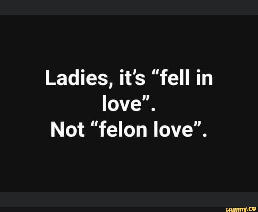 Ladies It S Fell In Love Not Felon Love Ifunny Ifunny Falling In Love Love