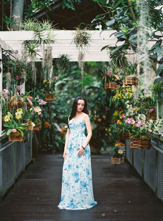 Botanical Gardens Wedding Inspo Shoot // A Charming Fete // Lauren Gabrielle Photography // #DonnaMorganCollection dress, Stephanie in Blue