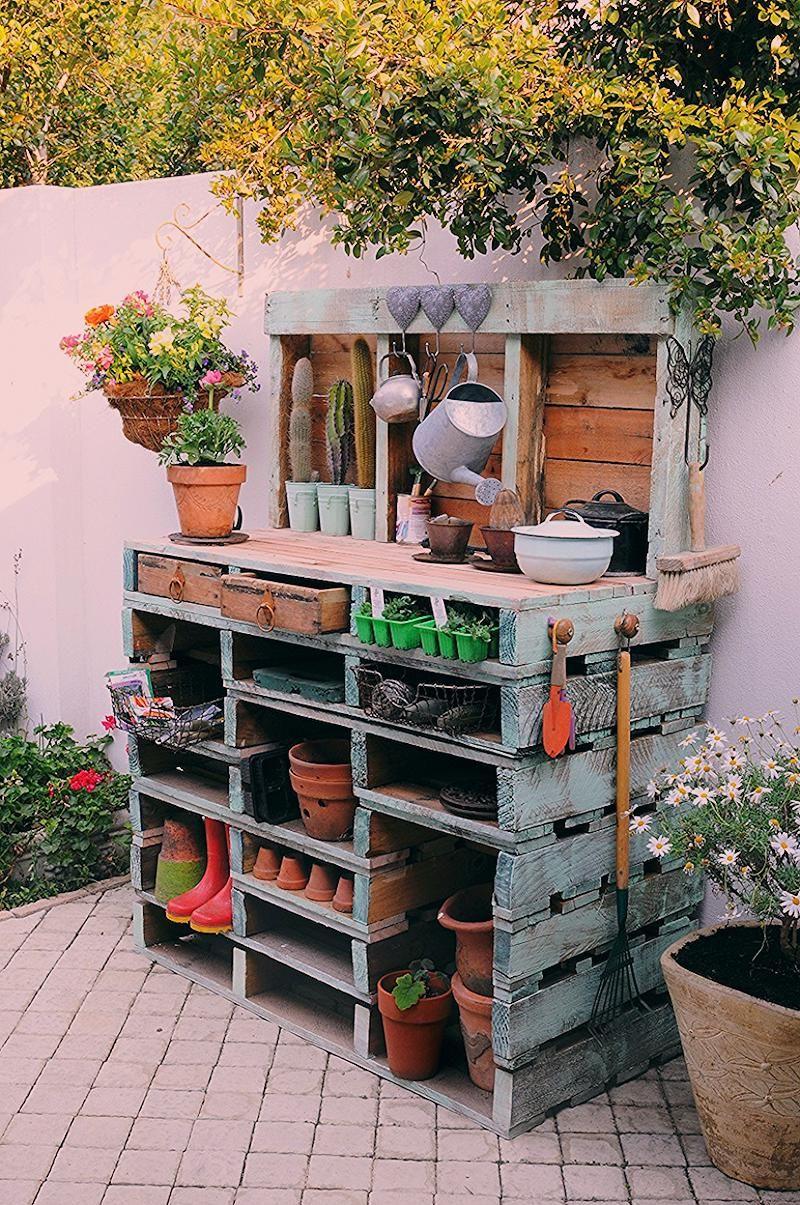 Meuble En Palette De Bois Jardin Table Rempotage Rangement