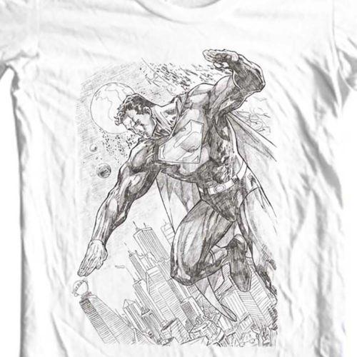 9e6301259 Superman-Pencil-Art-T-shirt-DC-comic-superhero-graphic-cotton-tee-SM1816
