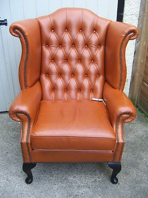 Vintage Leather Queen Anne Wingback Chair Chesterfield