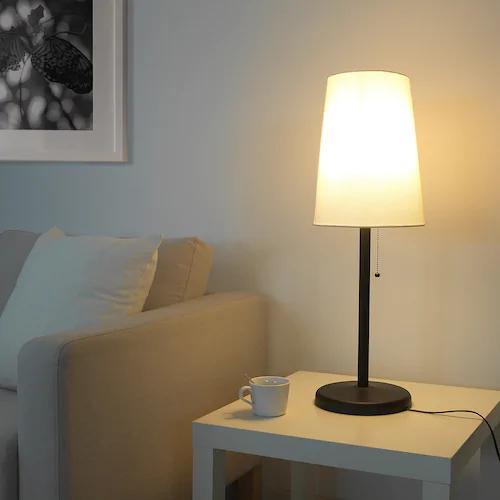 Portila Table Lamp With Led Bulb White Dark Brown Ikea White Table Lamp Table Lamp Lamp