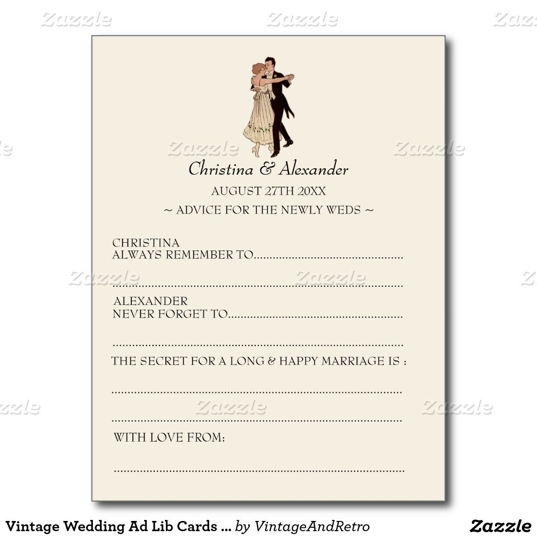 Vintage Wedding Ad Lib Cards Advice S Theme