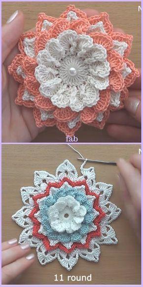 Easy Crochet 3D Flower Free Patterns-Video | Häkeln, Blumen häkeln ...