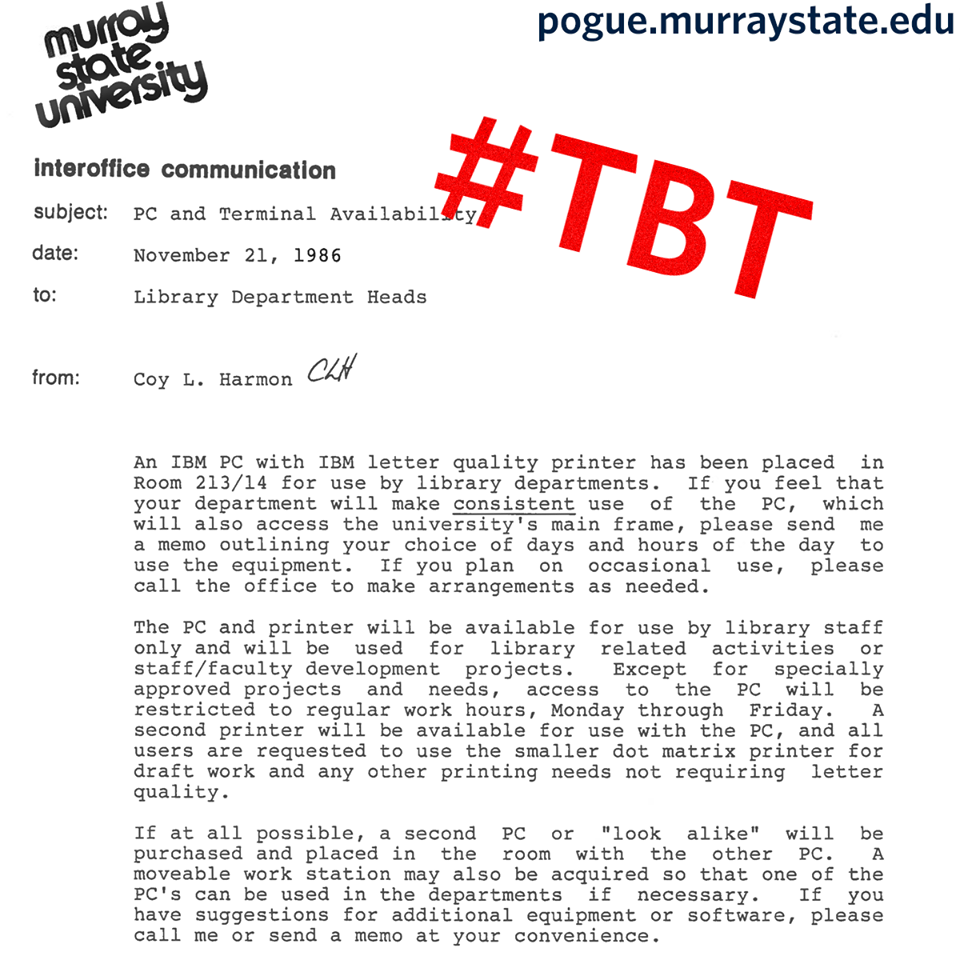 Interoffice Memos A Memo From Thirty Years Ago Regarding Computer Usage In The Murray .