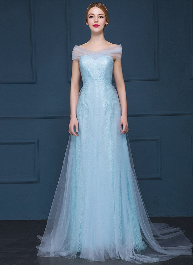 Light Blue Lace Evening Gown with Sheer Tulle Overlay RM629
