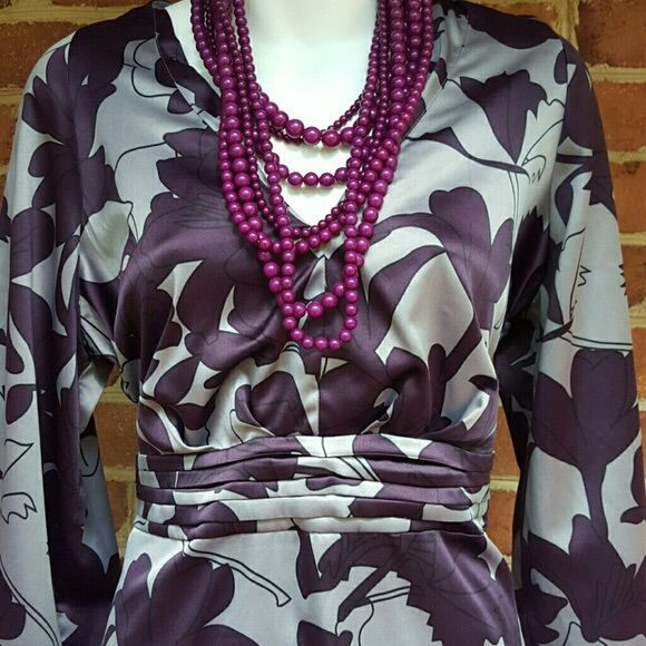 Beautiful Summer Dress In Purple And Gray Floral
