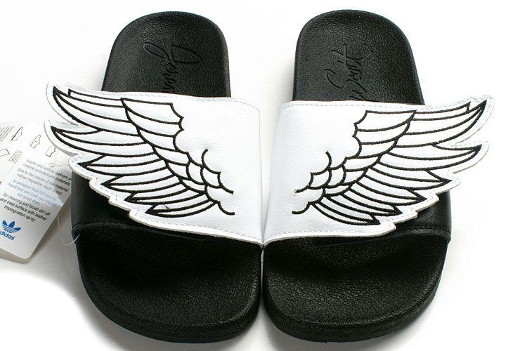 Adidas jeremy scott x js ali adilette sandali bianchi neri adidas