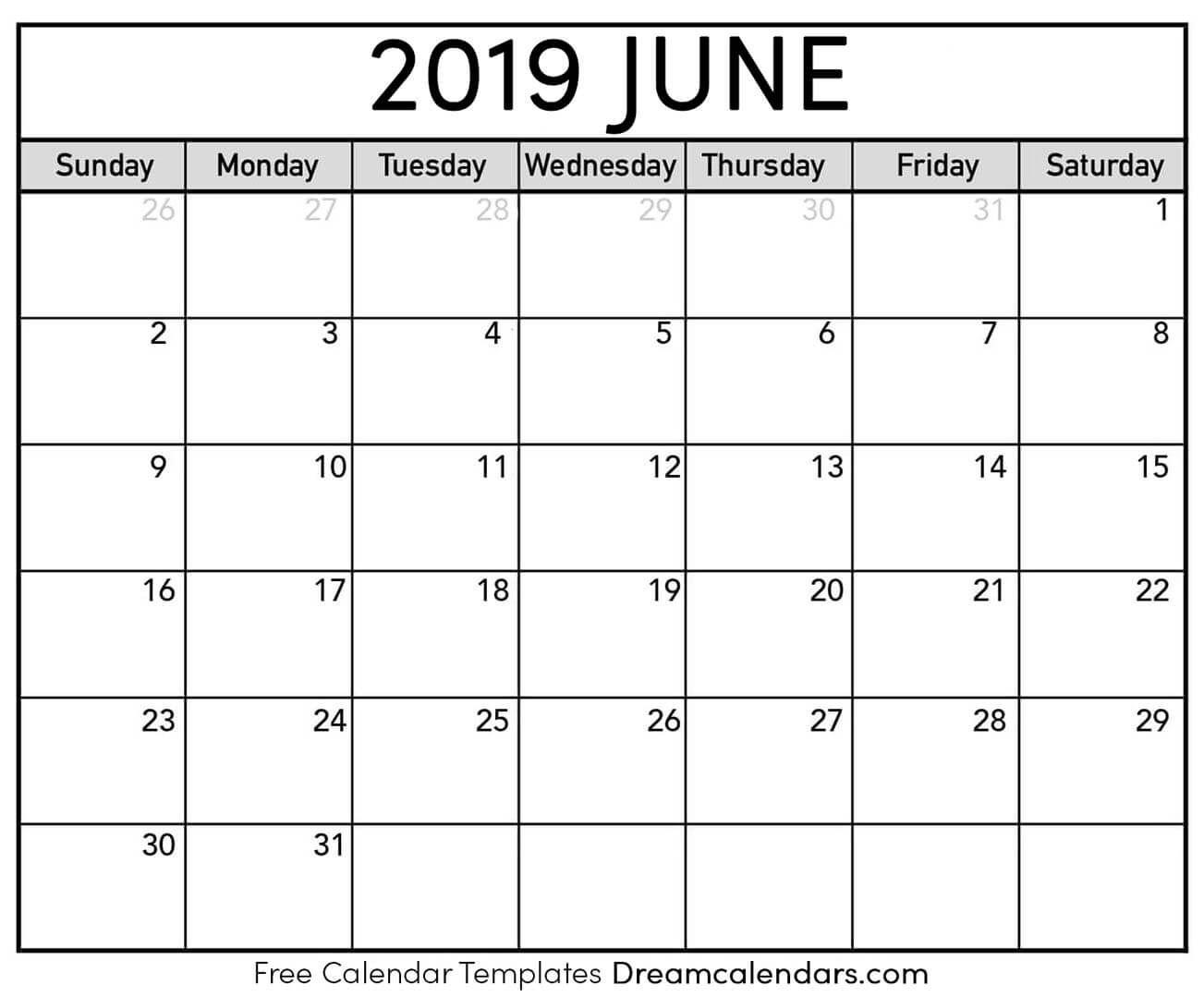 Best printable and editable June 2019 calendars  Download