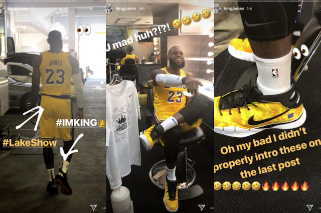 brand new 1e230 68303 FIRST LOOK  LeBron James Wears New Lakers Nike Jersey, Unveils Yellow  Camouflage UNDEFEATED x Kobe 1 Protro