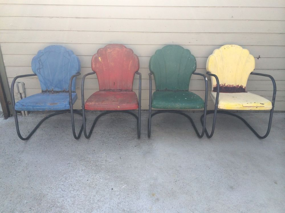 Vintage 1950 S Shell Scallop Back Metal Porch Lawn Patio Chairs 4